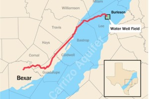 A map of the proposed pipeline that will deliver 16 billion gallons of water annually from underneath Burleson County to San Antonio, about 140 miles away. - Photo by San Antonio Water System